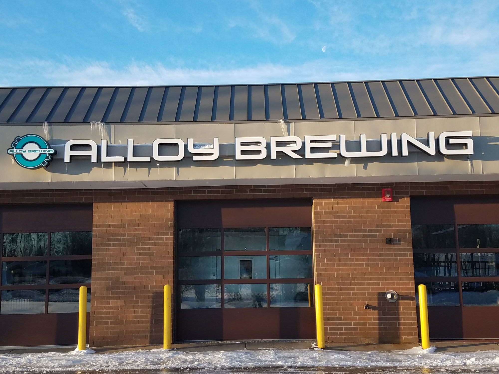 Alloy Brewing Coon Rapids, Minnesota LED illuminated channel letters Mounted to raceway