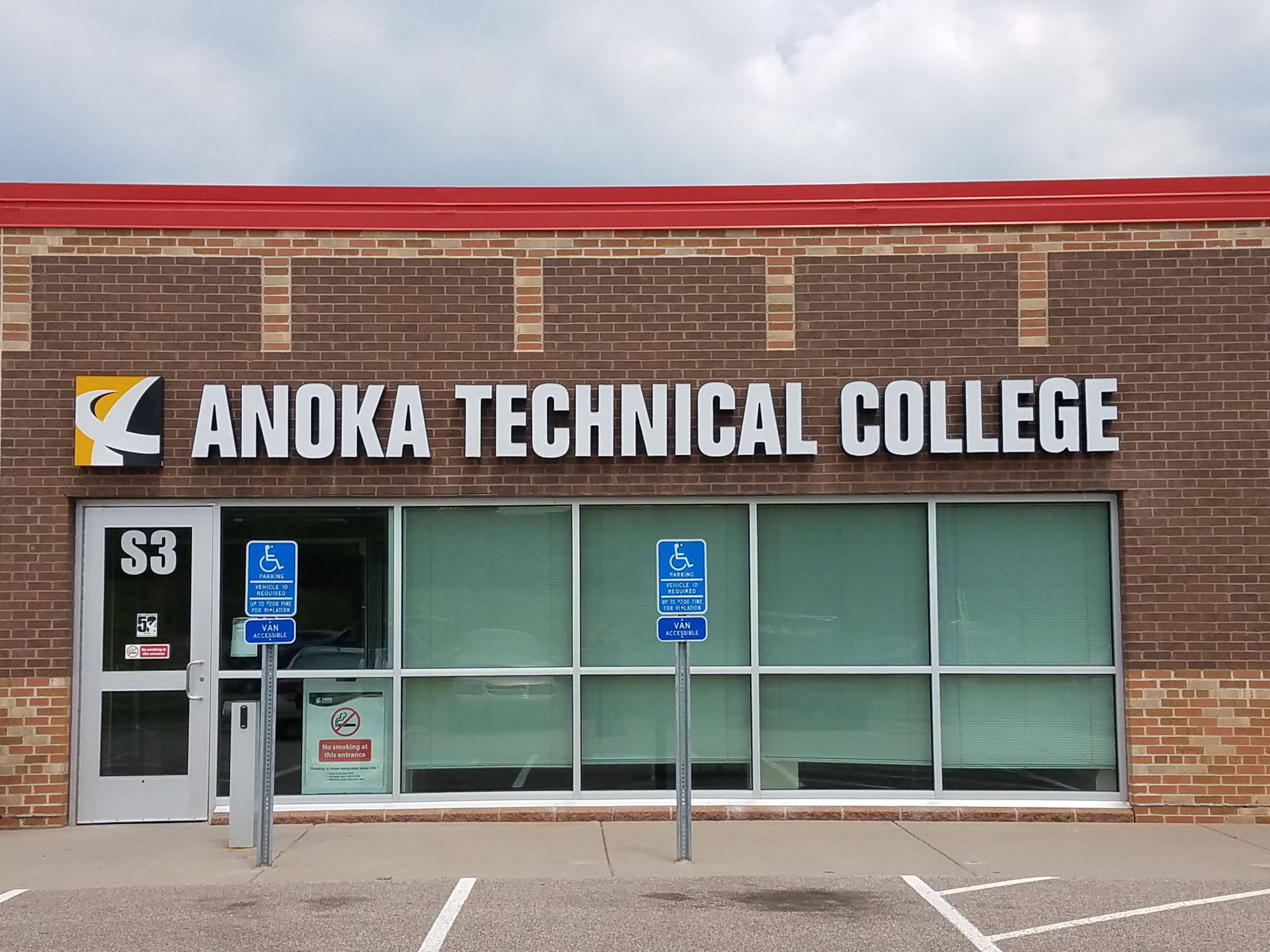 Anoka Technical College Anoka, Minnesota LED illuminated channel letters Direct mount installation