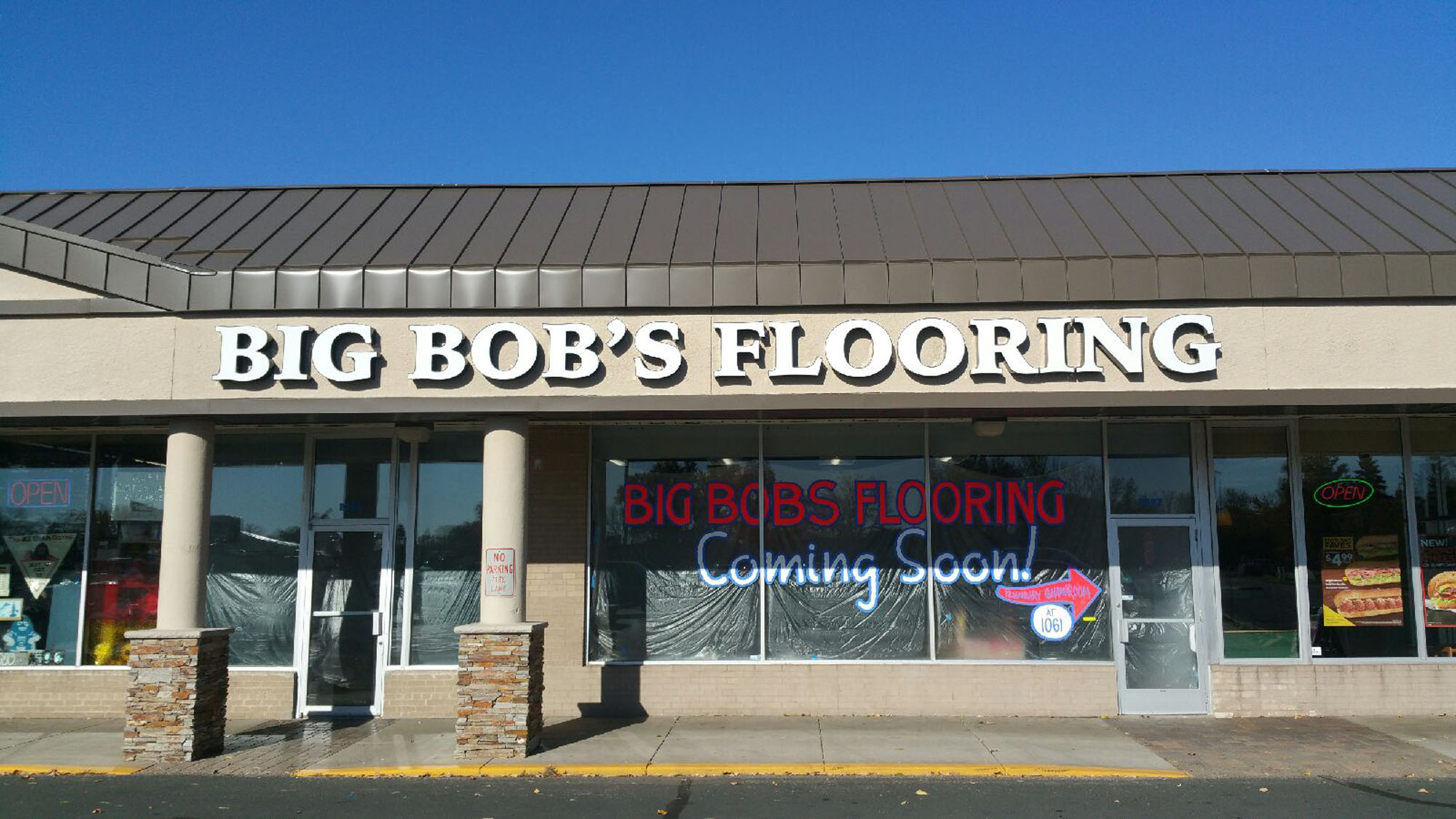 Big Bob's Flooring Fridley, Minnesota LED illuminated channel letters Direct mount to building