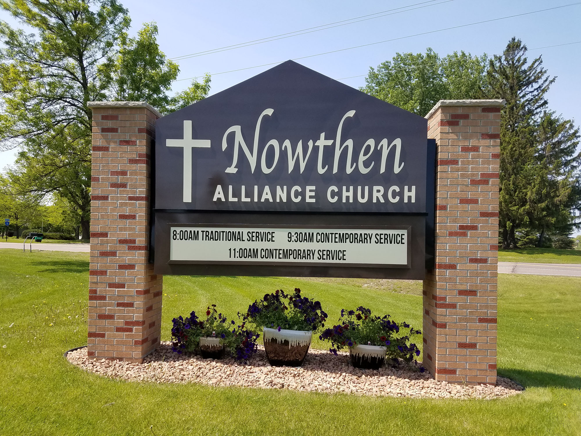 Now Then Alliance Church Now Then, Minnesota Cabinet sign between (2) brick pillars Routed out face with White LED illumination by DeMars Signs near Minneapolis St Paul Minnesota