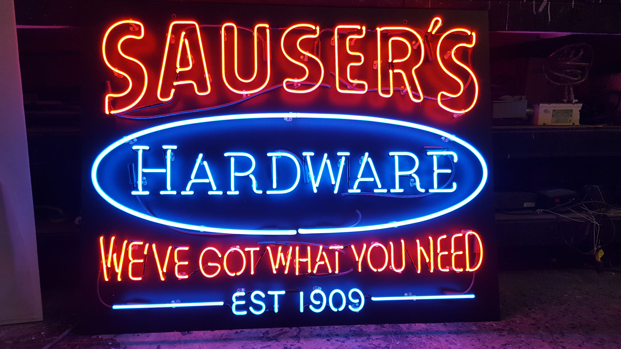Sausers Hardware Neon Sign by DeMars Signs